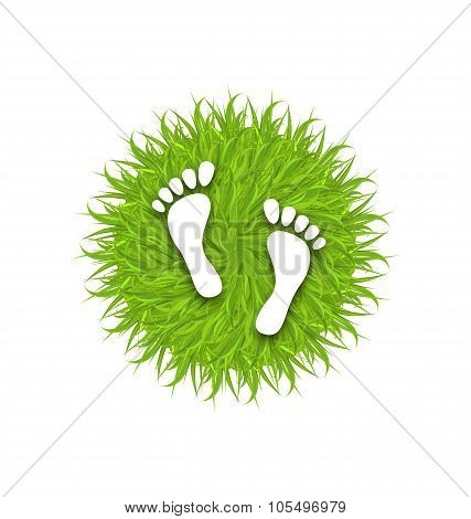 Eco Friendly Footprints on Green Grass
