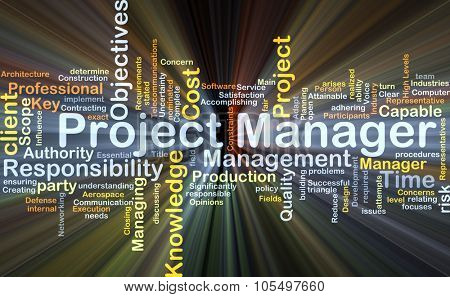 Background concept wordcloud illustration of project manager glowing light