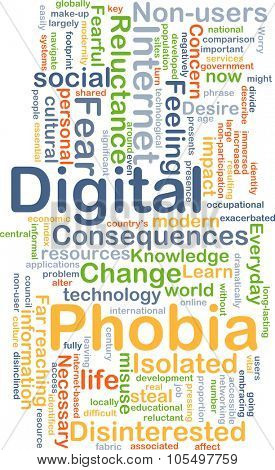 Background concept wordcloud illustration of digital phobia