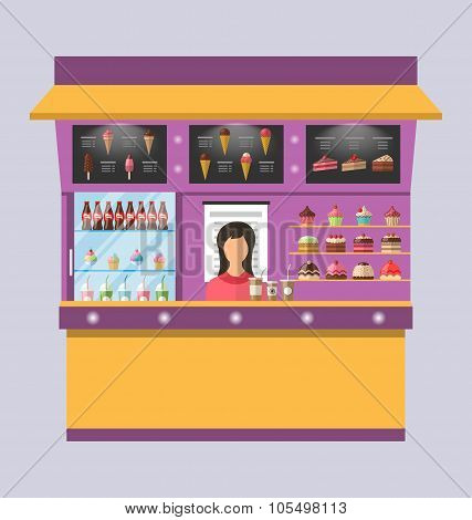 Sweet Shop with Cakes, Ice Creams, Muffins
