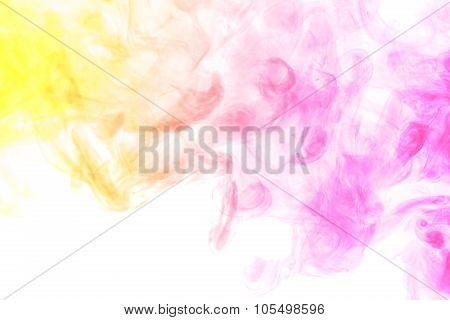 Abstract Colored Smoke Hookah On A White Background.
