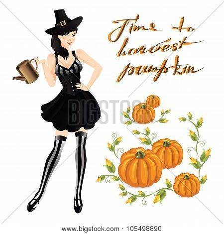 Woman in witch costume for halloween.