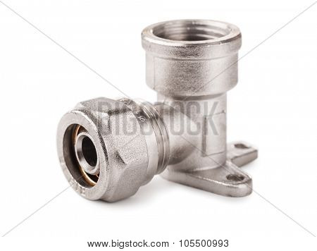 Metal threaded fitting isolated on white