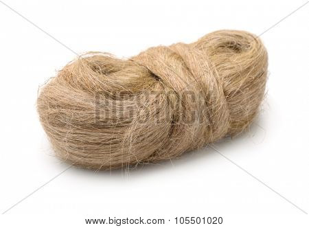 Raw flax fiber isolated on white