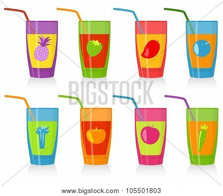 Set of colored glasses with juice. Good for fresh bars, children menu, vegetarian cafe.