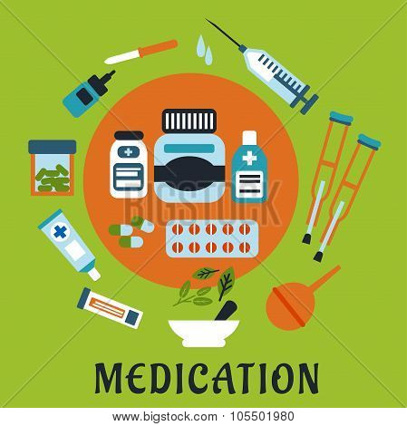 Medication icons with drugs and tools