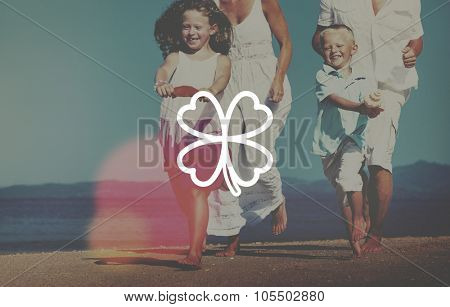 Family Running Playful Vacation Beach Clover Leaf Concept
