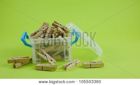 Wood clothespins in box (2)