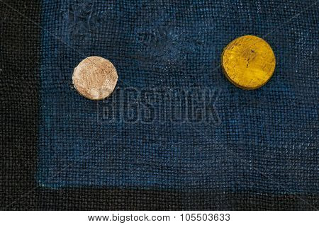 Colorful grunge textured hand-painted art abstract burlap background with circles