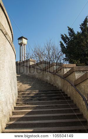 Stairs from down town to historic upper town in Zagreb