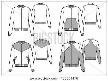 Men sport bomber technical sketch