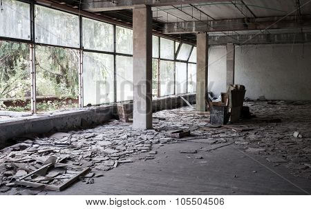 Abandoned Building Interior With Bright Windows