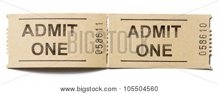 admit one tickets isolated on white