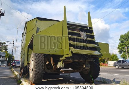 KIEV, UKRAINE - September 08, 2015: Improvised armored fighting vehicle for Civil War. Model Shush-Panzer.