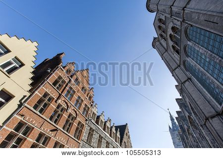 Historic Street And Church In Ghent