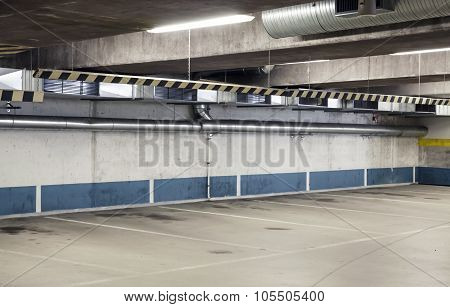 Empty Urban Parking Interior, Concrete Walls
