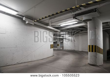 Empty Underground Concrete Parking Interior