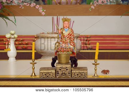 Statue Of Chinese Monk And Set Of Alter Table