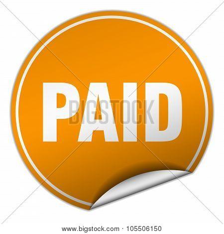 Paid Round Orange Sticker Isolated On White