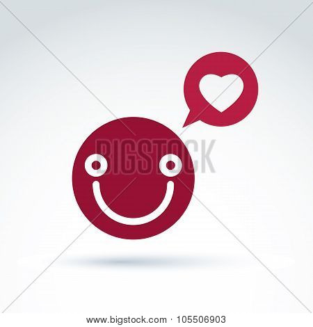 Smiling Happy Person In Love, Red Speech Bubble With Loving Heart Symbol. Conceptual Loving Heart