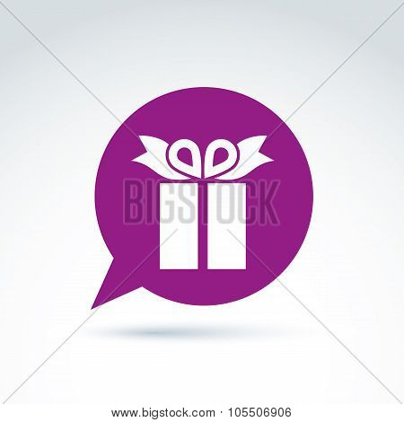Purple Speech Bubble With Gift Box Sign. Vector Present Icon. Chat On Birthday Theme.