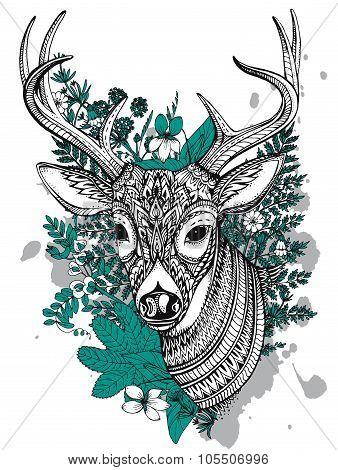 Hand Drawn Vector Horned Deer With  High Details Ornament