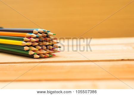 Multi Colored Pencils Background With Text Space
