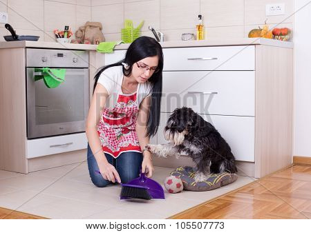 Cleaning After Dog In The Kitchen