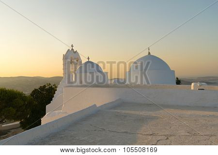Greece beauty with church Saint Antony sitting on top of a high mountain in Paros island.