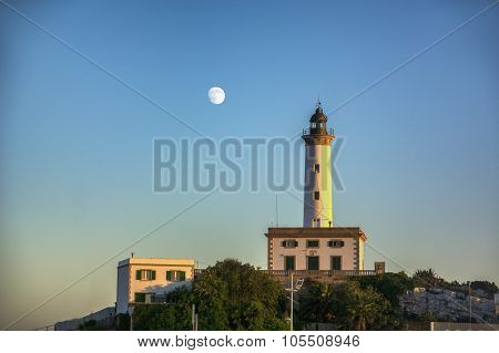 Lighthouse on a hilltop at sunset
