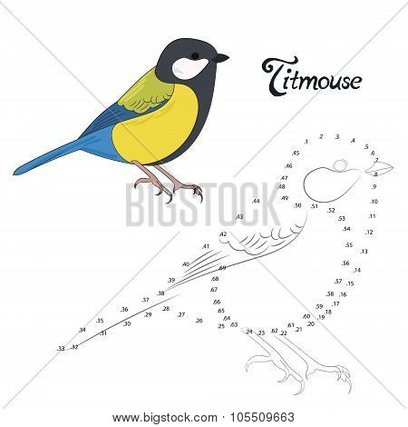 Educational game connect the dots to draw bird