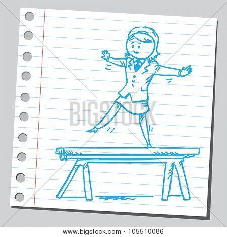 Businesswoman on balance beam