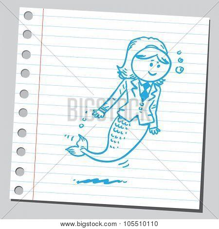 Businesswoman mermaid