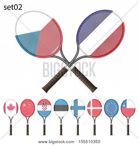Tennis rackets and flags