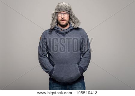 Serious Man In Winter Fashion