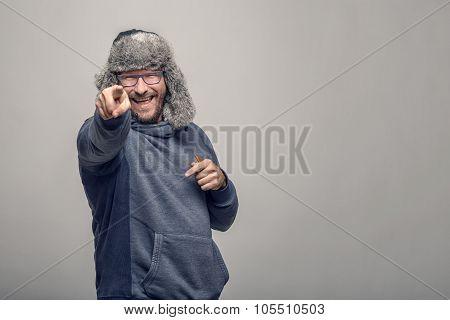 Laughing Jovial Man Pointing At The Camera