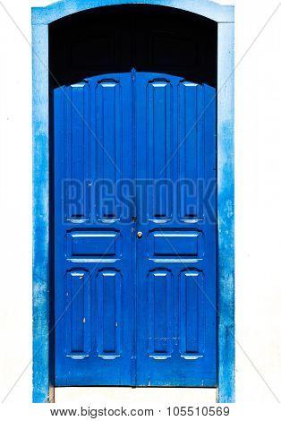 Antique blue door on the city of Ouro Preto, Minas Gerais, Brazil