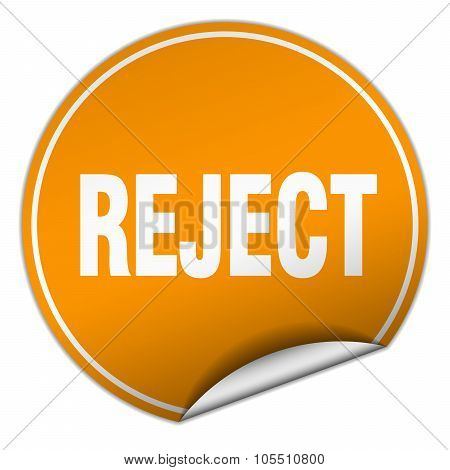 Reject Round Orange Sticker Isolated On White