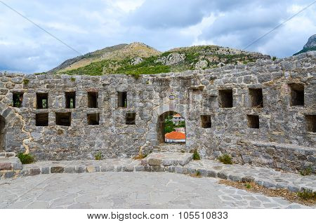 The Walls Of The Citadel In Old Bar, Montenegro