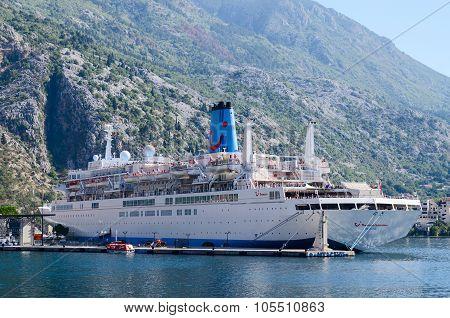Cruise Ship In The Bay Of Kotor, Kotor, Montenegro
