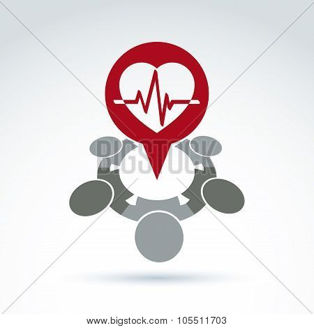 Cardiology Medical And Society Cardiogram Heart Beat Icon, Medical Organization, Medical Fund, Vecto
