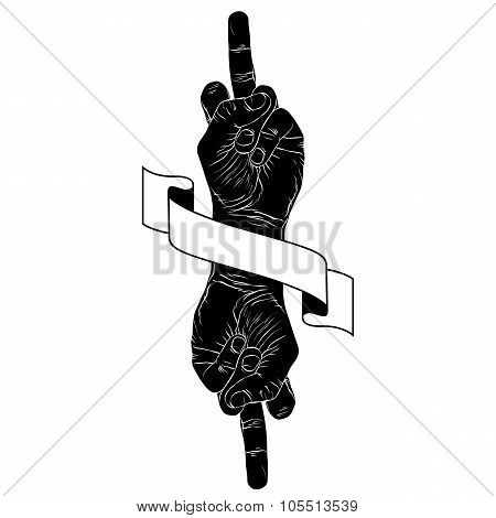 Middle Finger Hand Sign With Two Hands And Ribbon, Punk Emblem, Detailed Black And White Vector