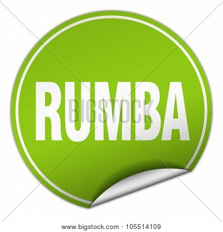 Rumba Round Green Sticker Isolated On White