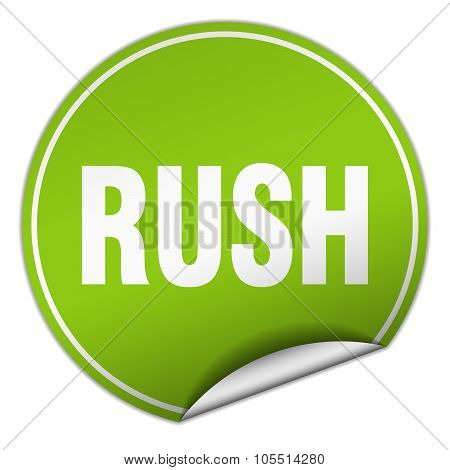 Rush Round Green Sticker Isolated On White
