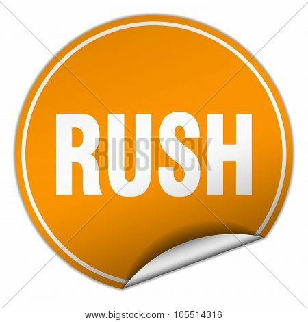 Rush Round Orange Sticker Isolated On White