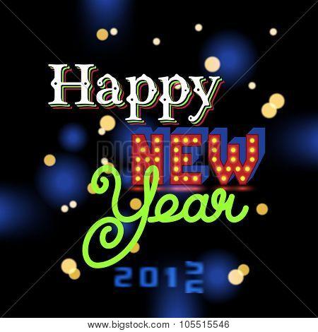 Happy New Year invitation. Elegant lettering.