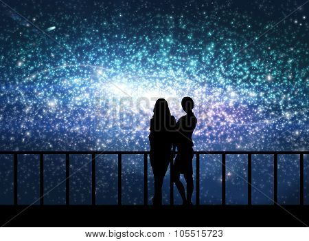 Silhouettes of young women in the cosmos
