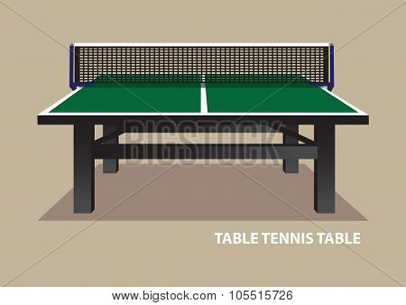 Table Tennis Table Viewed From One End Vector Illustration