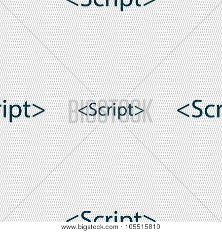 Script Sign Icon. Javascript Code Symbol. Seamless Abstract Background With Geometric Shapes.