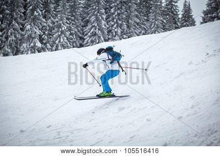 Man skiing on slope